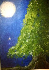 Mond, Perlen, Wald, Baum