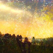 Baum, Himmel, Sternenregen, Digitale kunst