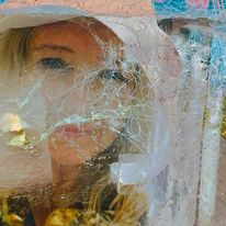 Gesicht, Spinnenweben, Türkis, Digitale kunst