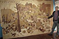 Naturholz, Intarsienbilder, Kirtag, Holzwandbild