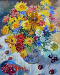 Malerei, Stillleben, Sommer, Blumenstrauß