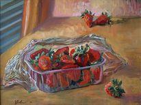 Erdbeeren, Stillleben, Ölmalerei, Malerei
