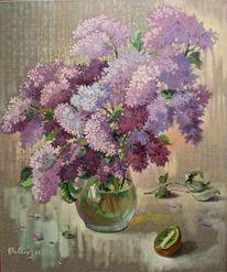 Malerei, Stillleben, Ölmalerei, Flieder
