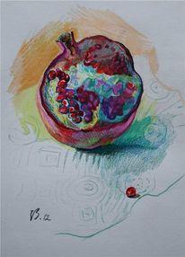 Stillleben, Zeichnung, Granatapfel, Zeichnungen