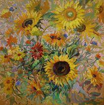 Malerei, Sonnenblumen, Ölmalerei