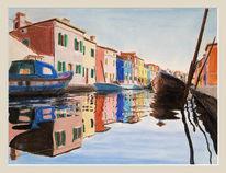 Burano, Boot, Sonne, Wasser