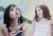 Mädchen, Zweifel, Acrylmalerei, Stimmung