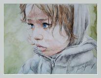 Mädchen, Kind, Gedanken, Portrait
