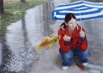 Acrylmalerei, Wasser, Aquarellmalerei, Mädchen