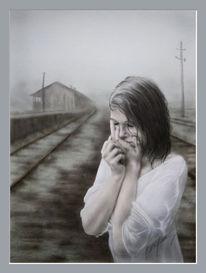 Kind, Aquarellmalerei, Mädchen, Tränen