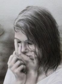 Aquarellmalerei, Kind, Mädchen, Angst