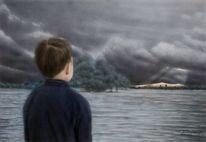 Worpswede, Überschwemmung, Junge, Acrylmalerei