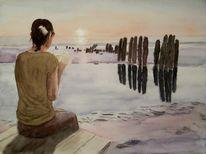Meer, Ozean, Strand, Aquarellmalerei