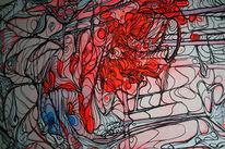Acrylmalerei, Chemtrails, Ausschnitt, Blau