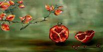 Malerei, Ölmalerei, Granatäpfel, Stillleben