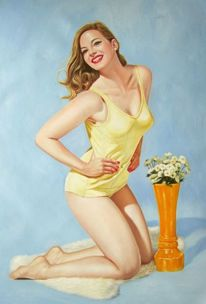 Gemälde, Ölmalerei, Frau, Portrait