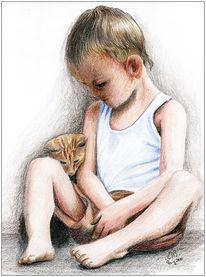 Buntstiftzeichnung, Bleistiftzeichnung, Katze, Portrait