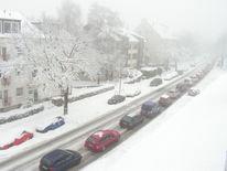 Schnee, Gehen, Straße, Auto