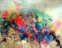 Gegenstandslos abstrakt malerei, Farben, Springtime, Information