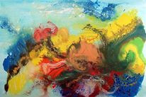 Gegenstandslos abstrakt malerei, Information, Springtime, Malerei