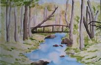 Landschaft, Saarland, Aquarellmalerei, Aquarell