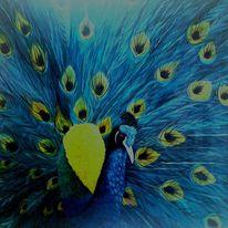 Ölmalerei, Vogel, Tiere, Blau