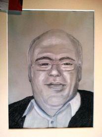 Portrait, Bleistiftzeichnung, Kreide, Zeichnung