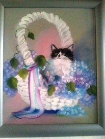 Blütenkorb, Katze, Korb, Schleife