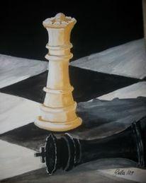 Schachfiguren, Dame, König, Gefallen