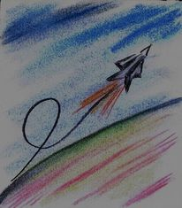 Stimmung, Weltuntergangsstimmung, Buntstiftzeichnung, 2012
