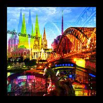 Collage, Köln, Füchschen, Stahl