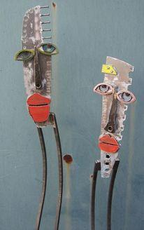 Skulptur, Eisenfigur, Freunde, Metall