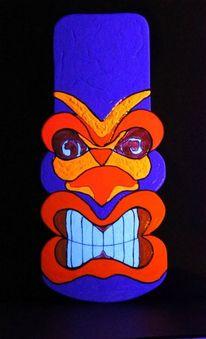Tiki, Lila, Acrylmalerei, Malerei