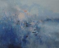 Blau, Bart van oijen, Malerei, Abstrakt