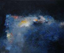 Acryluntermalung, Blau, Malerei, Abstrakt