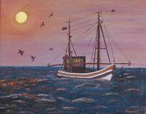 Wasser, Abend, Zeitgenössischer maler, Meer