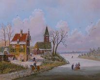 Zeitgenössischer maler, Kirche, Holländische malerei, Winter