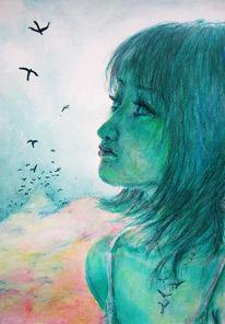 Sucht, Fliegen, Grün, Zeichnungen