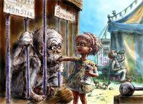 Godzilla, Hunger, Mädchen, Illustration