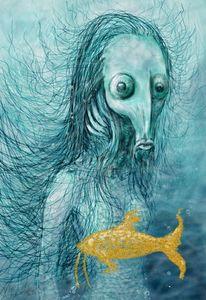 Backfisch, Illustration, Unterwasser, Blase