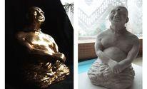 Gold, Buddha, Plastik, Ton