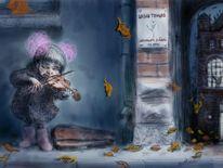 Musik, Illustration, Herbst, Violine