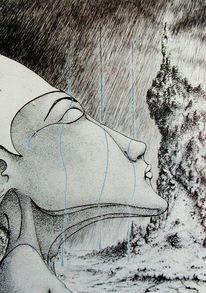 Deutschland, Regen, Gebet, Illustration
