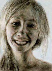 Mädchen, Digital portrait, Lachen, Deutschland