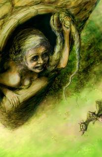Rawenzel, Grimm, Haare, Illustration