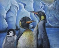 Tierwelt, Pinguin, Familie, Pastellmalerei