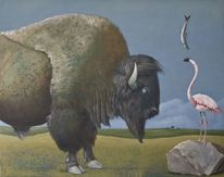 Ruhe, Bison, Surreal, Landschaft
