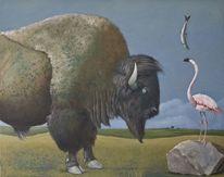 Landschaft, Fische, Malerei, Bison
