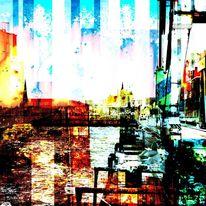 Collage, Wasser, Rot, Licht