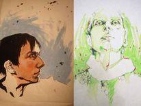 Gesicht, Acrylmalerei, Marker, Malerei